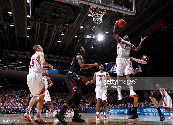 Richard Howell of the North Carolina State Wolfpack goes up with the ball against the Temple Owls in the second half during the second round of the...