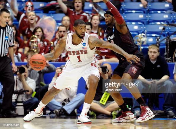 Richard Howell of the North Carolina State Wolfpack handles the ball against Anthony Lee of the Temple Owls in the first half during the second round...