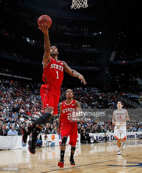 Richard Howell of the North Carolina State Wolfpack lays in a basket against the Virginia Cavaliers during the Quarterfinals of the 2012 ACC Men's...