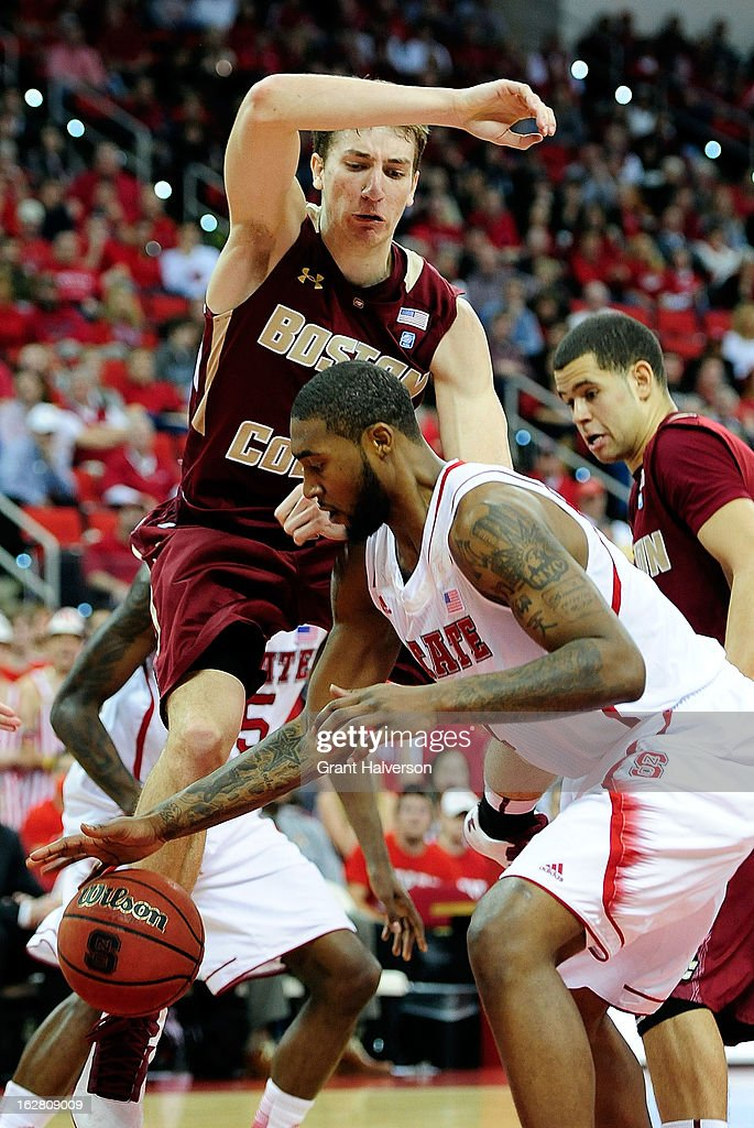 <a gi-track='captionPersonalityLinkClicked' href=/galleries/search?phrase=Richard+Howell&family=editorial&specificpeople=2313901 ng-click='$event.stopPropagation()'>Richard Howell</a> #1 of the North Carolina State Wolfpack strips the ball away from Eddie Odio #4 of the Boston College Eagles during play at PNC Arena on February 27, 2013 in Raleigh, North Carolina. North Carolina State won 82-64.