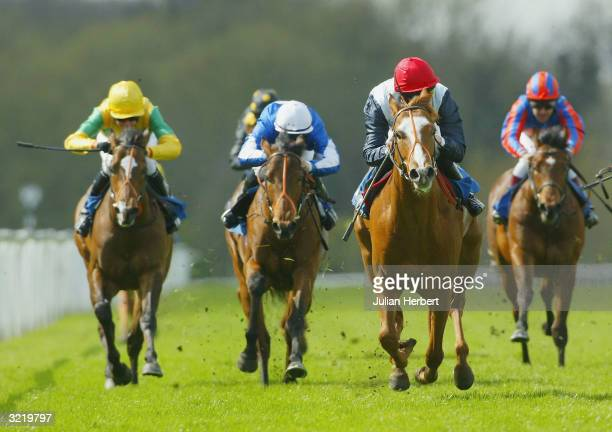 Richard Hughes and Cornus come up the straight to land The French Brothers Median Auction Maiden Stakes Race run at Windsor Racecourse on April 5...