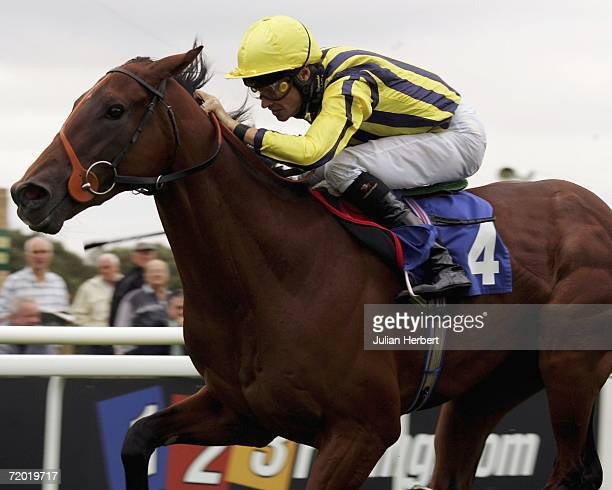Richard Hughes and Tembanee land The Portway EBF Novice Stakes Race run at Salisbury Racecourse on September 27 in Salisbury England