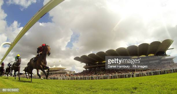 Richard Hughes on board Pether's Moon wins The RAC Sakes during day five of Glorious Goodwood at Goodwood Racecourse Chichester