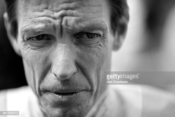 Richard Hughes poses at Newbury racecourse on July 18 2015 in Newbury England Hughes is due to retire from the saddle in two week times after the...