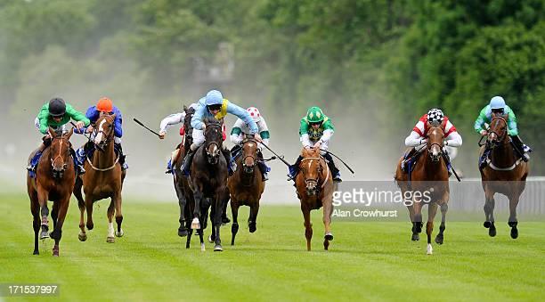 Richard Hughes riding Chutney go on to win The British Stallion Studs EBF Ashbrittle Stud Maiden Fillies' Stakes at Salisbury racecourse on June 26...