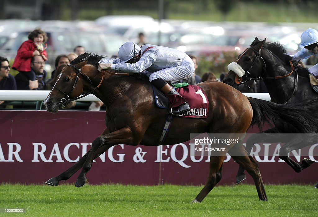 <a gi-track='captionPersonalityLinkClicked' href=/galleries/search?phrase=Richard+Hughes+-+Jockey&family=editorial&specificpeople=206680 ng-click='$event.stopPropagation()'>Richard Hughes</a> riding Olympic Glory win The Prix Jean luc Lagardere at Longchamp racecourse on October 07, 2012 in Paris, France.