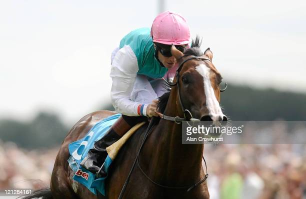 Richard Hughes riding Sea Moon win the sportingbetcom Great Voltigeur Stakes at York racecourse on August 17 2011 in York England