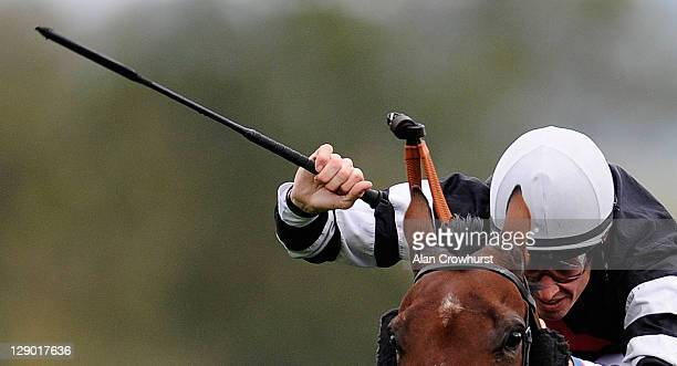 Richard Hughes uses the whip on his mount Annes Rocket at Salisbury racecourse on October 10 2011 in Salisbury England