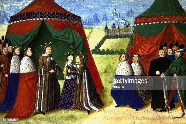 Richard II meets his new bride15th Illustration From Jean Froissart in Jean Froissarts Chronicles Harl4380fol89 The British Library London Great...