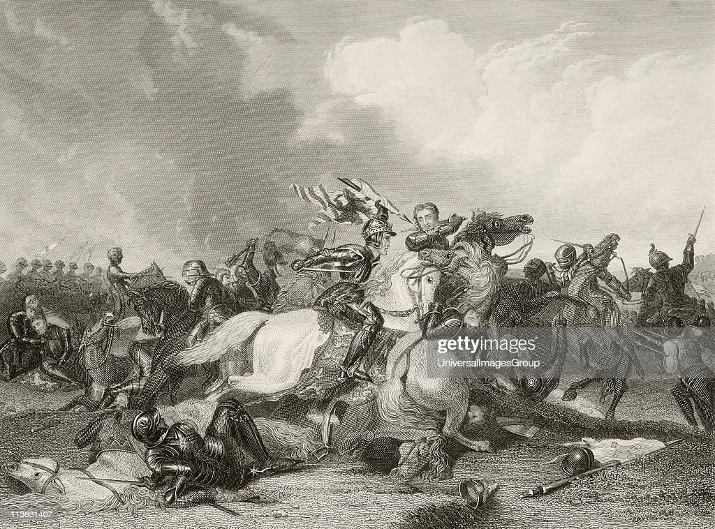 Richard III and the Earl of Richmond, later Henry VII, at the Battle of Bosworth Field August 22 1485. From a nineteenth century print.
