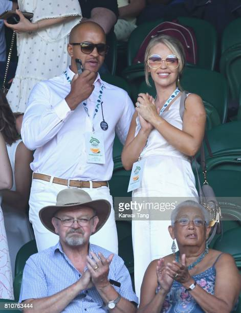 Richard James Sutton and Katie Piper attend day six of the Wimbledon Tennis Championships at the All England Lawn Tennis and Croquet Club on July 8...