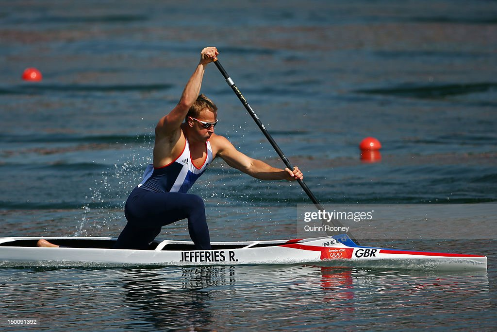 Richard Jefferies of Great Britain competes in the Men's Canoe Single 200m Sprint semifinals on Day 14 of the London 2012 Olympic Games at Eton...