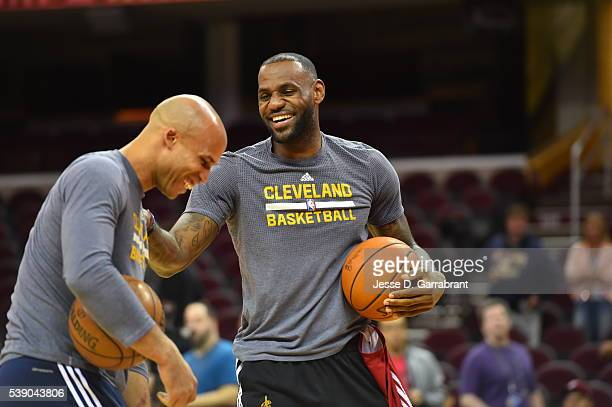 Richard Jefferson and LeBron James of the Cleveland Cavaliers participate during practice and media availability as part of the 2016 NBA Finals on...
