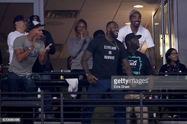 Richard Jefferson and LeBron James of the Cleveland Cavaliers react in the eighth inning in Game Seven of the 2016 World Series at Progressive Field...