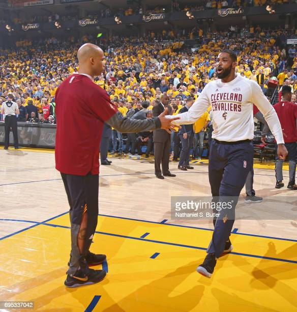 Richard Jefferson and Tristan Thompson of the Cleveland Cavaliers high five before Game Five of the 2017 NBA Finals against the Golden State Warriors...