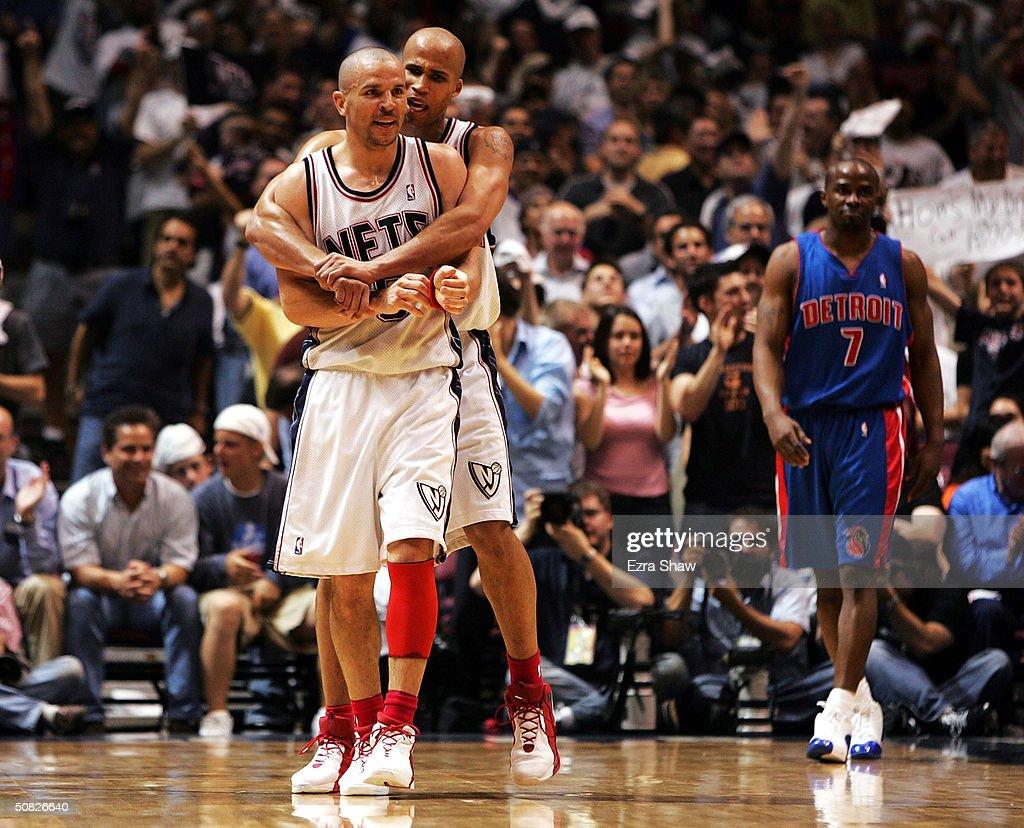 ce4b0e5d1c6 ... Richard Jefferson 24 hugs teammate Jason Kidd 5 of the New Jersey Nets  after ...
