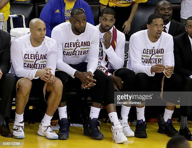 Richard Jefferson LeBron James Tristan Thompson and Channing Frye of the Cleveland Cavaliers sit on the bench during Game 2 of the 2016 NBA Finals...