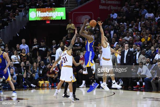 Richard Jefferson of the Cleveland Cavaliers blocks the shot of Kevin Durant of the Golden State Warriors in Game Four of the 2017 NBA Finals on June...