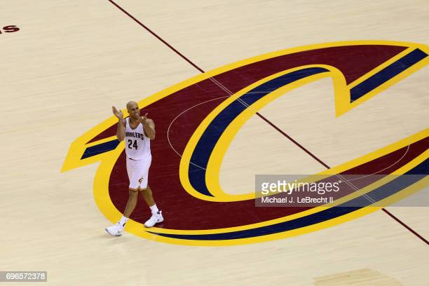 Richard Jefferson of the Cleveland Cavaliers cheers during the game against the Golden State Warriors in Game Four of the 2017 NBA Finals on June 9...