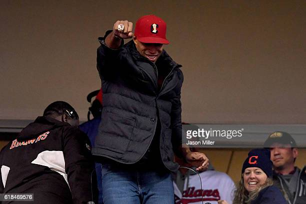 Richard Jefferson of the Cleveland Cavaliers displays his 2016 NBA Championship Ring as he attends Game Two of the 2016 World Series between the...