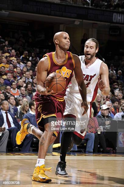 Richard Jefferson of the Cleveland Cavaliers dribbles the ball against the Miami Heat on October 30 2015 at Quicken Loans Arena in Cleveland Ohio...