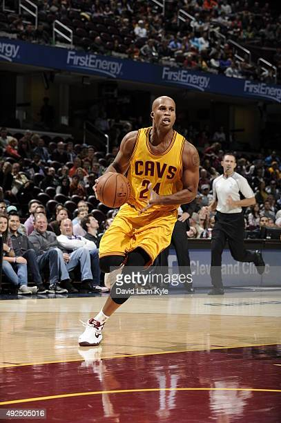 Richard Jefferson of the Cleveland Cavaliers drives to the basket against the Milwaukee Bucks on October 13 2015 at Quicken Loans Arena in Cleveland...