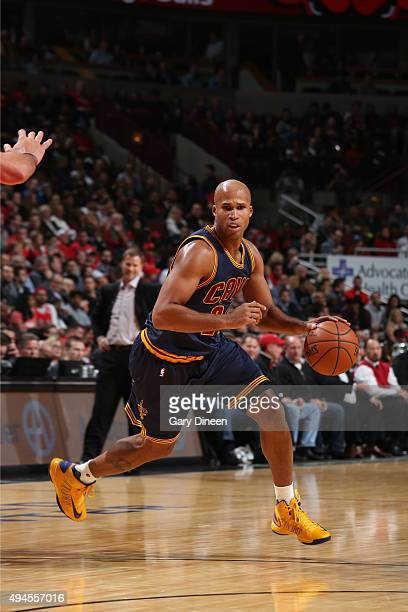 Richard Jefferson of the Cleveland Cavaliers drives to the basket against the Chicago Bulls on October 27 2015 at the United Center in Chicago...