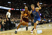 Richard Jefferson of the Cleveland Cavaliers drives to the basket against Kyle Singler of the Oklahoma City Thunder during the second half of their...