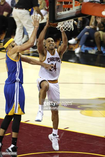 Richard Jefferson of the Cleveland Cavaliers drives to the basket against the Golden State Warriors in Game Four of the 2017 NBA Finals on June 9...