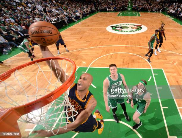 Richard Jefferson of the Cleveland Cavaliers dunks against the Boston Celtics during the game on April 5 2017 at the TD Garden in Boston...