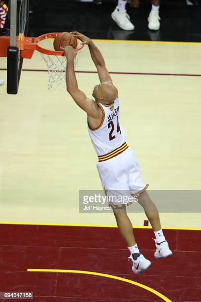 Richard Jefferson of the Cleveland Cavaliers dunks against the Golden State Warriors in Game Four of the 2017 NBA Finals on June 9 2017 at Quicken...