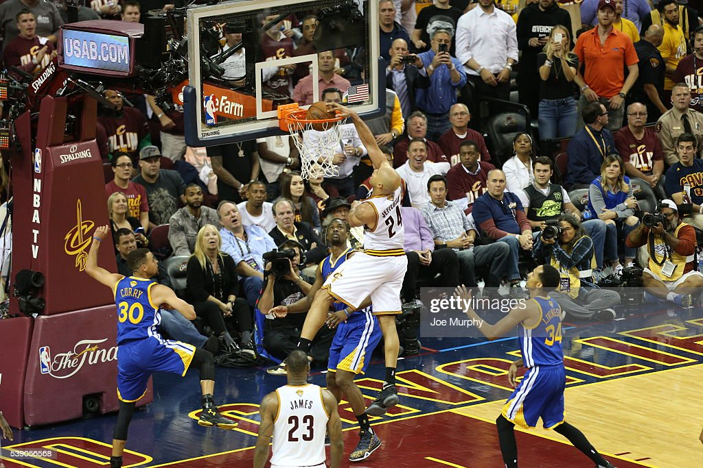 Richard Jefferson of the Cleveland Cavaliers dunks the ball against the Golden State Warriors in Game Three of the 2016 NBA Finals on June 8 2016 at...