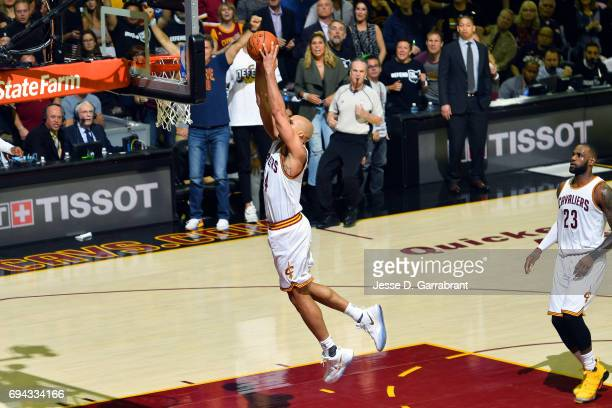 Richard Jefferson of the Cleveland Cavaliers dunks the ball during the game against the Golden State Warriors in Game Four of the 2017 NBA Finals on...