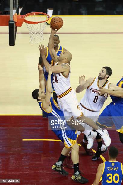 Richard Jefferson of the Cleveland Cavaliers goes to the basket against the Golden State Warriors in Game Four of the 2017 NBA Finals on June 9 2017...