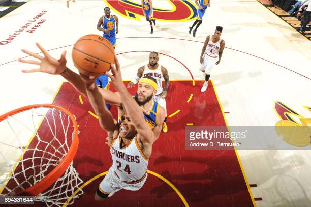 Richard Jefferson of the Cleveland Cavaliers goes up for a dunk against JaVale McGee of the Golden State Warriors in Game Four of the 2017 NBA Finals...