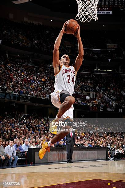 Richard Jefferson of the Cleveland Cavaliers goes up for a dunk against the Indiana Pacers on November 8 2015 at Quicken Loans Arena in Cleveland...