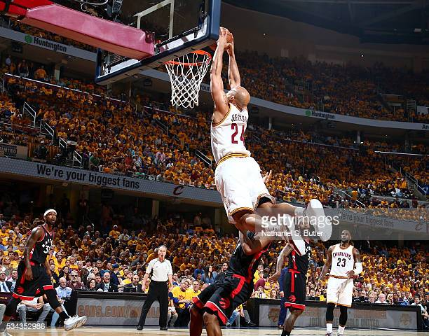 Richard Jefferson of the Cleveland Cavaliers goes up for a dunk against the Toronto Raptors in Game Five of the Eastern Conference Finals during the...