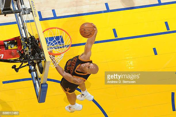 Richard Jefferson of the Cleveland Cavaliers goes up for a dunk against the Golden State Warriors in Game Two of the 2016 NBA Finals on June 5 2016...