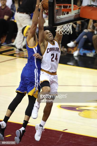 Richard Jefferson of the Cleveland Cavaliers goes up for a dunk against the Golden State Warriors in Game Four of the 2017 NBA Finals on June 9 2017...