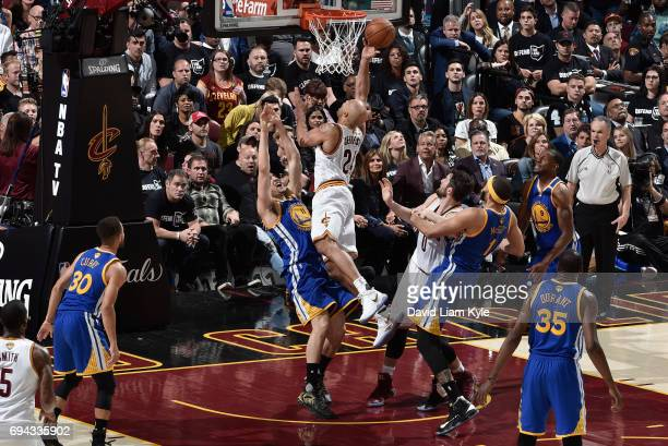 Richard Jefferson of the Cleveland Cavaliers goes up for the shot against Klay Thompson of the Golden State Warriors in Game Four of the 2017 NBA...