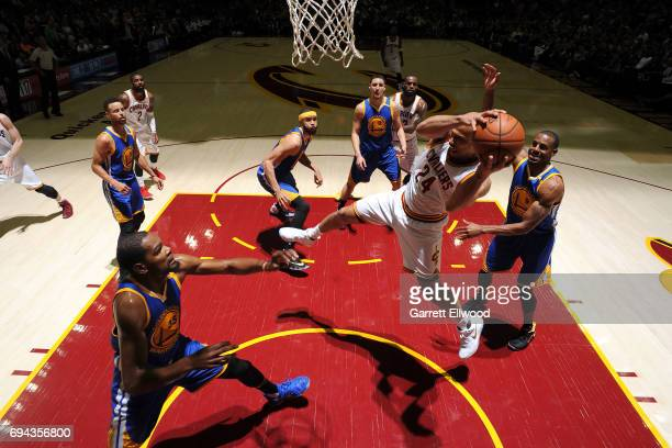Richard Jefferson of the Cleveland Cavaliers grabs the rebound against the Golden State Warriors in Game Four of the 2017 NBA Finals on June 9 2017...