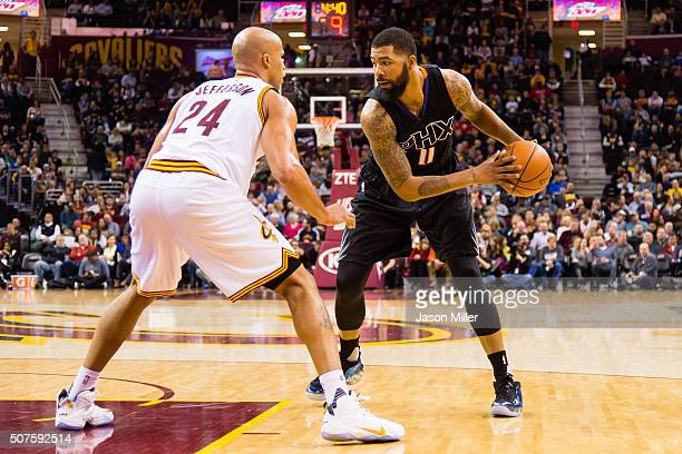 Richard Jefferson of the Cleveland Cavaliers guards Markieff Morris of the Phoenix Suns during the second half at Quicken Loans Arena on January 27...
