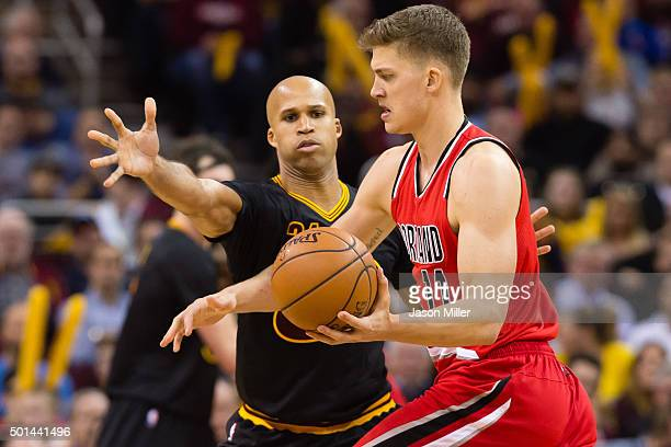 Richard Jefferson of the Cleveland Cavaliers guards Meyers Leonard of the Portland Trail Blazers during the second half at Quicken Loans Arena on...