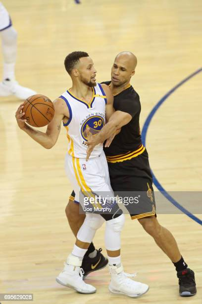 Richard Jefferson of the Cleveland Cavaliers guards Stephen Curry of the Golden State Warriors in Game Five of the 2017 NBA Finals on June 12 2017 at...