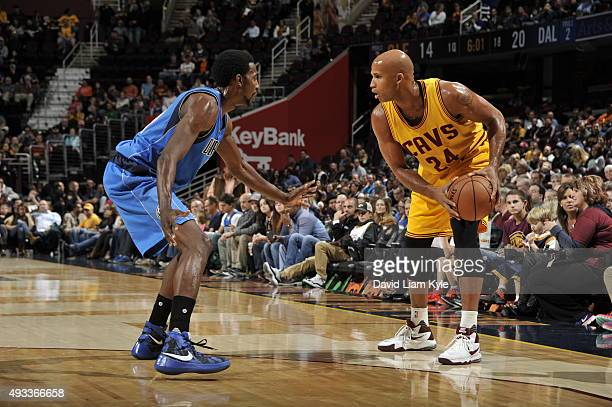 Richard Jefferson of the Cleveland Cavaliers handles the ball against the Dallas Mavericks on October 19 2015 at Quicken Loans Arena in Cleveland...