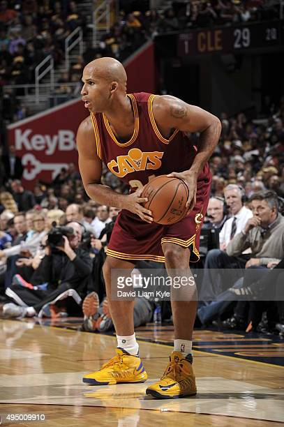 Richard Jefferson of the Cleveland Cavaliers handles the ball against the Miami Heat on October 30 2015 at Quicken Loans Arena in Cleveland Ohio NOTE...