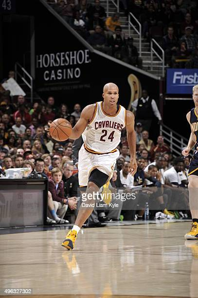 Richard Jefferson of the Cleveland Cavaliers handles the ball against the Indiana Pacers on November 8 2015 at Quicken Loans Arena in Cleveland Ohio...
