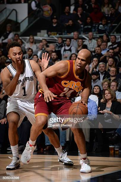 Richard Jefferson of the Cleveland Cavaliers handles the ball against the San Antonio Spurs on January 14 2016 at the ATT Center in San Antonio Texas...