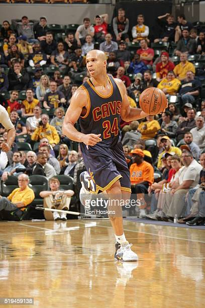 Richard Jefferson of the Cleveland Cavaliers handles the ball against the Indiana Pacers on April 6 2016 at Bankers Life Fieldhouse in Indianapolis...
