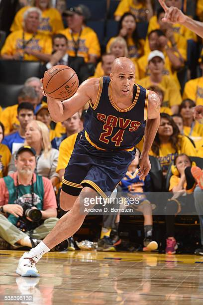 Richard Jefferson of the Cleveland Cavaliers handles the ball against the Golden State Warriors in Game Two of the 2016 NBA Finals on June 5 2016 at...